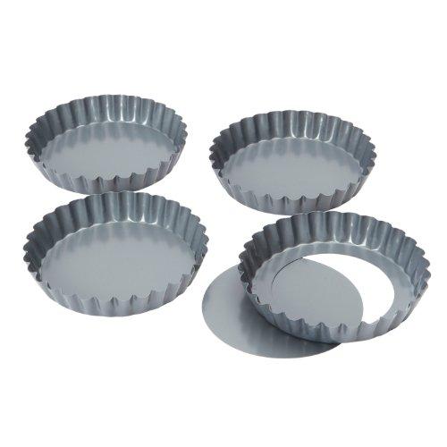 Baker's Pride Backformen mit Hebeboden, für Mini-Quiches/ Tartelettes, mit Antihaftbeschichtung, 12cm, 4 Stück
