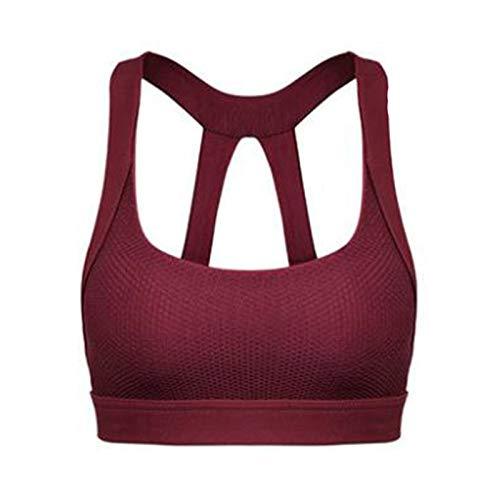 Epinki Damen Sport BH Nylon Spandex Fitnesstraining Bra Stoßfest Design Frauen Bustier Für Gym Yoga Laufen Fitness - Wein Rot