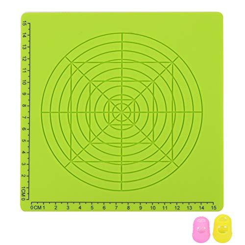 Yardwe 3D Druckstift Silikonmatte Kinder Zeichnungsvorlage Pad mit 2 Stück Zufällige Farbe Fingerabdeckungen (Grün)