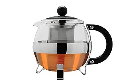 Café Ole Classic Théière en verre panier Infuseur à thé pot feuilles, chrome, 1250ml/1,25l