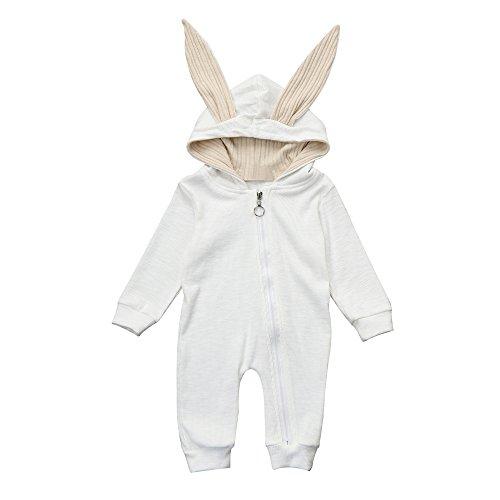 (Kinderkleid Honestyi Neugeborenes Baby Mädchen Jungen Kaninchen Ohr warme mit Kapuze Spielanzug Overall Kleidung 3D (Weiß,70))