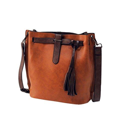 Transer Women Shoulder Bag Popular Girls Hand Bag Ladies Leather Handbag, Borsa a spalla donna Grey 27cm(L)*29(H)*14cm(W) Brown