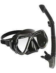 MarCoolTrip MZ Masque et Tuba pour ensemble de lunettes de plongée Snorkeling Kits de Randonnée Aquatique anti-brouillard en verre Snorkel avec bouche à base de silicone Vanne de purge et garde anti-éclaboussures