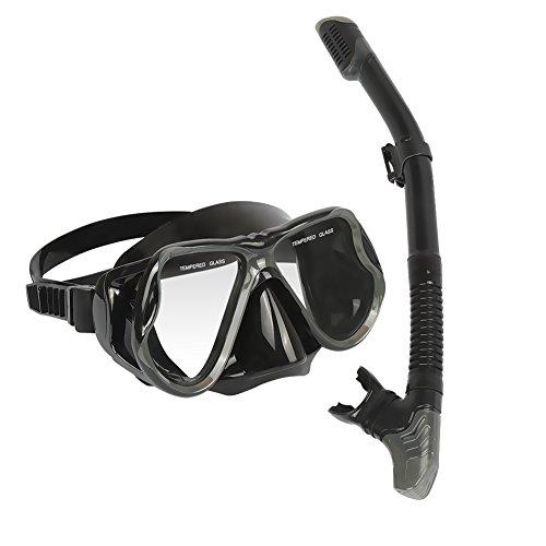 Schnorchelpaket Set, MarCoolTrip MZ für Erwachsene Schnorchel Tauchbrillen Set Premium Schnorchelset erwachsene Taucherbrille mit Schnorchel kamera halterung Tauchen dry Schnorcheln Set(Schwarz)