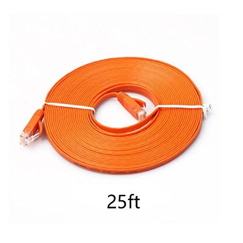 8.0m (meter) Cat.6 flaches Ethernet Gigabit Lan Netzwerkkabel (nach oben / unten kompatibel) / Breitbandkabel | Patchkabel / Flachkabel | 2 RJ-48 Stecker | Stecker mit Biegeschutzmantel | Farbe: orange Mediabridge 6 Füße