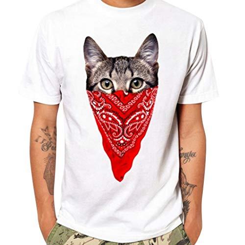 VANMO Sweatshirts für Herren, 2019 Neu Sommer Weißes T-Shirt Herren Mode Casual Brief einfarbig drucken Kurzarm T-Shirt Bluse Cool Einfarbig Baumwolle Freizeitkleidung Maskiert Cat