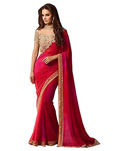 Rote indische/Pakistanische Designer Damen Sari Schwere Seide Bluse Georgette Saree Diwali Angebot Festliche Party Brautschmuck Georgette Designer
