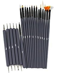 Glow Nail Art Outils réglés; 20 pinceaux et, outils de pointillage pour nail art; Gris