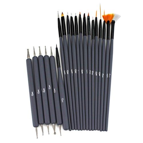 Glow 20 Stück Nagel Kunst Pinsel und Punktierung Werkzeug-Satz; Farbe grau