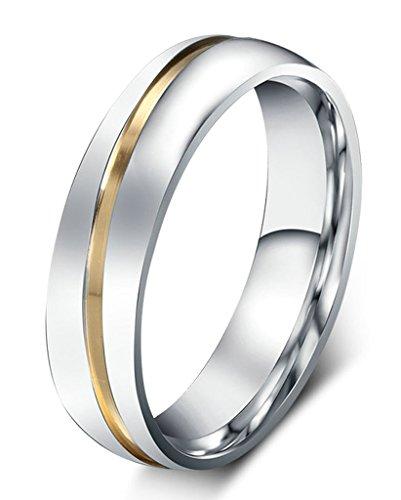 AnaZoz Schmuck Paar Eheringe aus Edelstahl mit Zirkonia Verlobungsringe Partnerringe Männerring Gold Silber