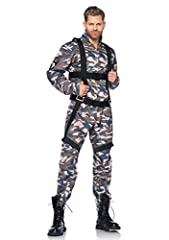 Idea Regalo - Leg Avenue 85279 -Set per costume da paracadutista, Uomo, 2 pz, L, motivo mimetico