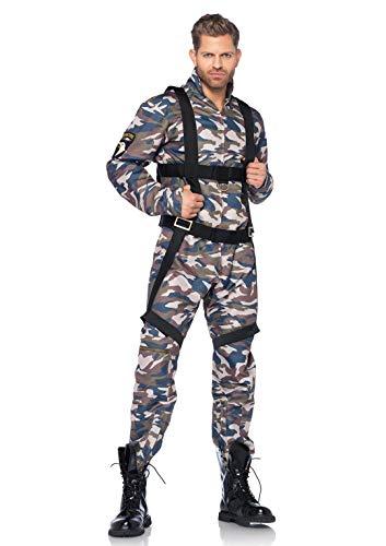 LEG AVENUE 85279 - 2Tl. Kostüm Set Fallschirmjäger, Größe M, camo, Männer Karneval - Leg Avenue Militär Kostüm