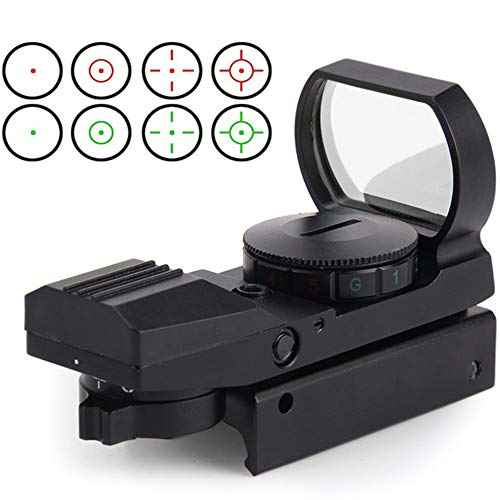 Red Dot Visier Airsoft mit 11mm Schiene Leuchtpunktvisier Rotpunktvisier mit Tactical 4 Reticles für Jagd Softair Pistole