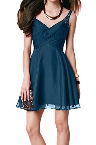 Ivydressing Damen Zaertlich V-Ausschnitt Perlen Rueckenfrei Kurz Partykleid Promkleid Festkleid Abendkleid Blau