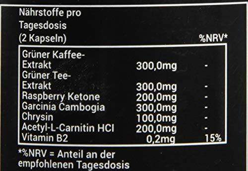 CLASSIC BURN | 2 MONATSVORRAT | 120 vegane Kapseln/Tabletten | mit Raspberry Ketone, Garcinia Cambogia, Grüner Tee Extrakt, Grüner Kaffee Extrakt