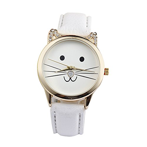 Gatos cara Reloj de pulsera - SODIAL(R)Damas diamante precioso gatos cara cuero de imitacion reloj de cuarzo Blanco