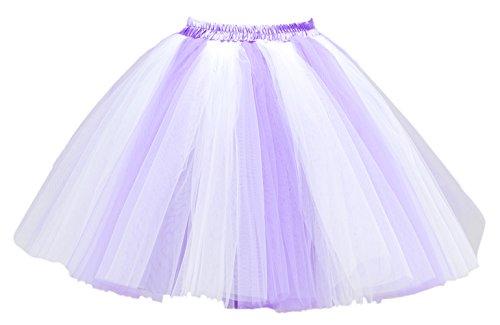 Honeystore Damen's Mini Tutu Ballett Mehrschichtige Rüschen Unterkleid Weiß Lilac
