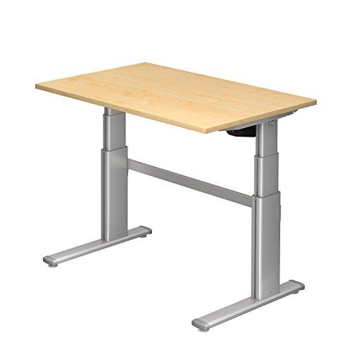 Ergobasis elektrisches Tischgestell Version 2 inklusive Tischplatte 120 x 80 cm in Dekor Ahorn, stufenlos höhenverstellbar von ca. 63 bis 128 cm, Stahlgestell pulverbeschichtet und mit 2 leistungsstarken Elektromotoren als ergonomischer Steh-/Sitz- Schreibtisch für Arbeitsplätze und Home-Office
