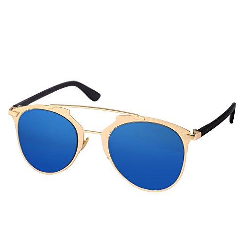 Silver Kartz European Blue Mercury Heavy Metal Aviator Sunglasses (wy215)