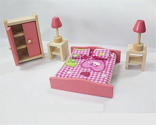 FunnyGoo Maison de Poupée en Bois Rose Délicate Maison Meubles Poupées Prétendre Jouet Miniature Chambre de Bébé Pépinière Ménage Jouer Jeu avec 2 Poupée Personnes Cadeau pour Enfants (Chambre)