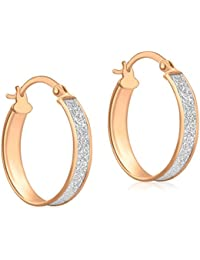 IBB London Womens Stardust Creole Earrings - Rose Gold/Silver