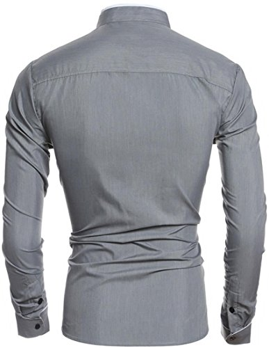 jeansian Herren Freizeit Hemden Casual Stand Collar Long Sleeved Slim Fit Shirt Dress Shirts Top 84M8 Gray