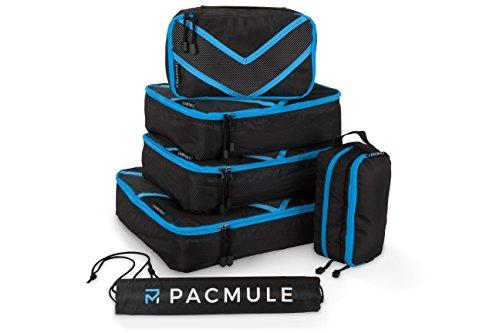 Packset |Koffer Organizer | Kleidertaschen | Packwürfel | Travel Cube | Koffertaschen – für einen perfekt gepackten Koffer, 6er Set mit Wäschebeutel von PACMULE (blau)