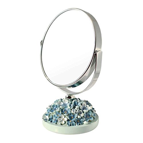 Miroirs Double-Face Bureau HD De Maquillage Portable Princesse Vanity Salon De Beauté Pliant Double-Face De Bureau Belle Hydrangea (Couleur : Bleu)