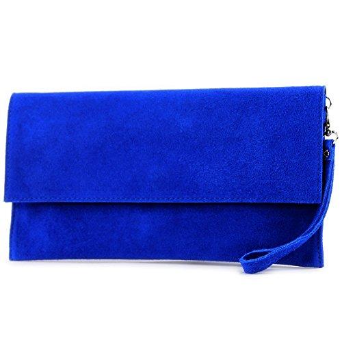 modamoda de - T151/M151 - ital. Clutch Wildleder/Leder Metallic, Farbe:Königsblau Farbe Deckel