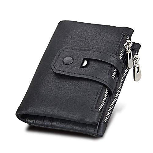 FDWVGR&JN Brieftasche Frauen Echtes Leder Brieftaschen Weibliche Haspe Doppelreißverschluss Geldbörse Id Kartenhalter Unisex Schlanke Brieftaschen, Schwarz -