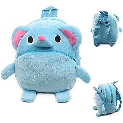 iisport Mochila Infantil Bolsa de Felpa Diseño de Elefante para Picnic Pre-escolar Aire Libre Tamaño de 23*21*9 CM