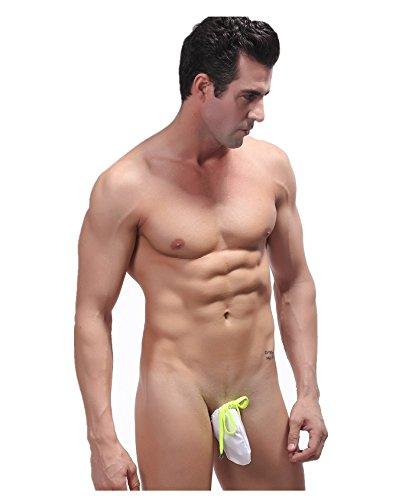 Zacoo Herren Sexy G-Schnur Unterwäsche Tasche Bikini Swim Thong trägerlos Größe Free Size Weiß