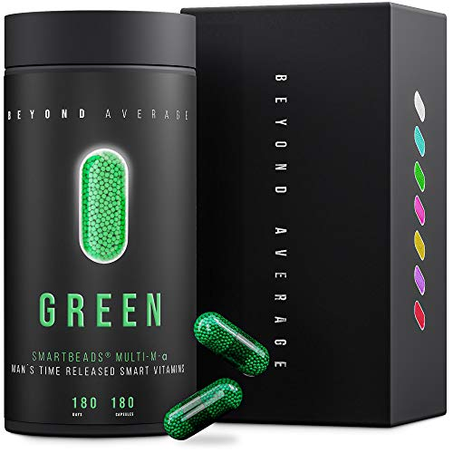 Beyond Average GREEN | Time-Released 24h* Multivitamin und Multimineral-Support Männer | 180 Smartbeads ® Multi-M-Alpha Kapseln | Laborgeprüft | Entwickelt u. Hergestellt in Deutschland -