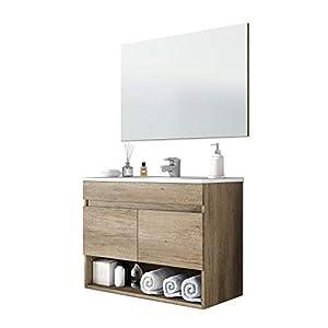 ARKITMOBEL 305110H – Mueble de baño Cotton con 2 Puertas y Espejo, modulo Lavabo Color Nordik, Medidas: 80 x 57,5 x 45 cm de Fondo