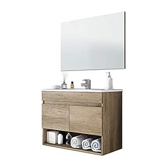 41Gv1PhMHqL. SS324  - 13 Casa Oslo V01 - Mueble de baño + Espejo, melamina, 80 x 45 x 64 cm