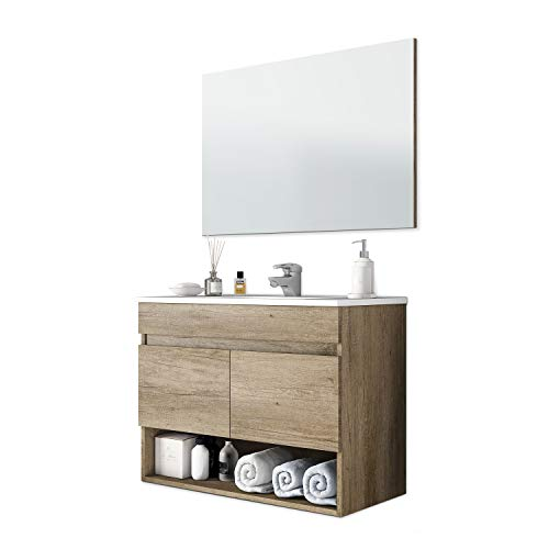 13 Casa Oslo V01 - Mueble de baño + Espejo, melamina, 80...