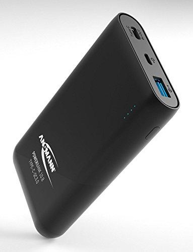 ANSMANN Powerbank Quickcharge 3.0 TÜV geprüft 10000 mAh & 3A Ausgang - Fast Charge Power Bank mit USB & Typ C Port - Ladegerät mit LED Anzeige für alle Smartphone Handy Tablet UVM - Externer Akku