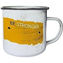 Sé más fuerte Divertido Nuevo Bien positivo Inspírate Retro, lata, taza del esmalte 10oz/280ml d157e