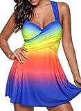 ZEZKT- Fashion Rainbow Tankini | öckchen Badekleid | Große Größen Swimsuit | V-Ausschnitt Bademode Schwimmkleid + Shorts | Zwei Stück Badeanzüge