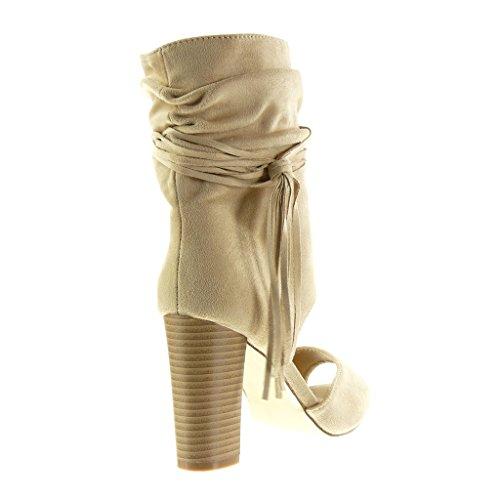 Angkorly Scarpe Da Donna Stivaletti Sandali - Peep-toe - Open - Sexy - Perizoma - Frange Tacco Alto Tacco 9 Cm Beige