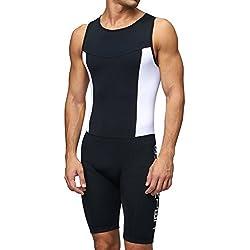 Combinaison de triathlon tri-fonctionnelle - Avec compression - Rembourré - Pour duathlon, course, natation et cyclisme - Pour homme Sundried,Noir,M