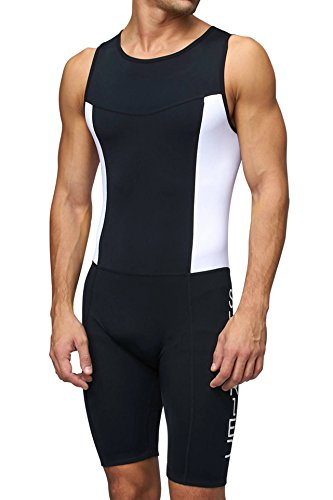 Sundried Body Triathlon Uomo, Imbottita, a Compressione, Duathlon, Body da Corsa, Nuoto e Ciclismo (Medium)