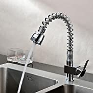 SHUYOU® Solid Brass Single Handle Spring Pull Down Kitchen Faucet - Chrome Finish