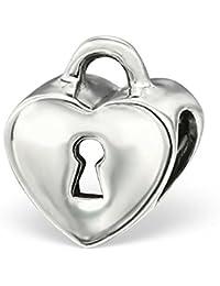 Plata de Ley hecho a mano corazón con ranura de corazón con camafeo cuenta para pulsera