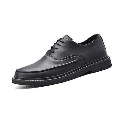 SHENNANJI Für männer Oxford Schuhe Formale Schuhe schnüren Stil pu Leder Casual Business runde Captoe pflegeleicht Lightwight (schwarz glänzend optional) (Color : Gloss Black, Größe : 40 EU) -