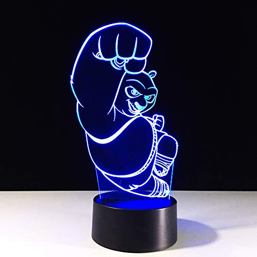 ht 3D Led Wohnkultur Beleuchtung Schreibtischlampe Animierte Charakter Nachtlicht 7 Farbwechsel Panda Kinder Urlaub Geschenke ()
