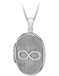 Tuscany Silver Sterling Silver Rhodium Plated Infinity Locket Pendant on a Chain of Length 46cm