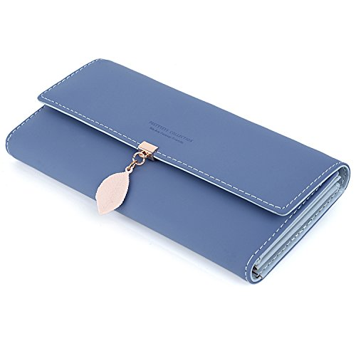 UTO Portafoglio Foglie d'autunno di Pelle sintetica per donna portafoglio lungo con foglia pendente e portamonete con cerniera Navy Blue