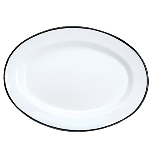 Crow Canyon Platte oval Solid White with Black Trim Trim-enamelware