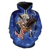UDGWROC Hoodies Man Fly Eagle, um die amerikanische Flagge blau mit Kapuze Sweatshirt Druck Herbst Hoodies zu ergreifen LMWY-022 4XL